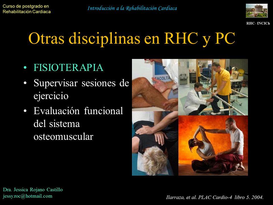 FISIOTERAPIA Supervisar sesiones de ejercicio Evaluación funcional del sistema osteomuscular