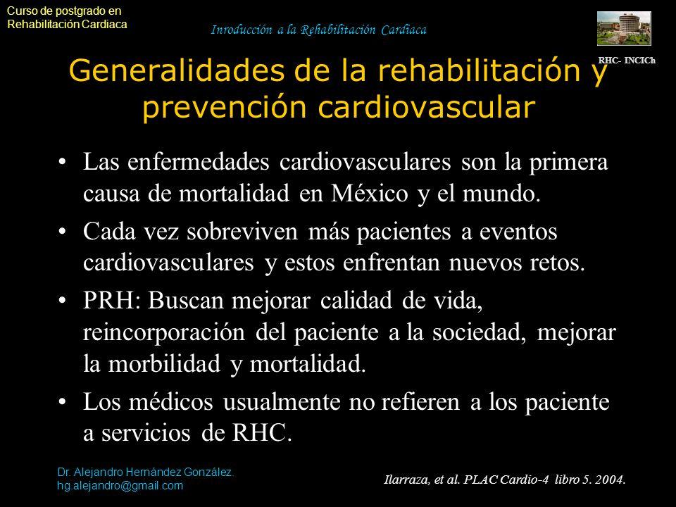 Curso de postgrado en Rehabilitación Cardiaca Dr. Alejandro Hernández González. hg.alejandro@gmail.com Inroducción a la Rehabilitación Cardiaca Genera