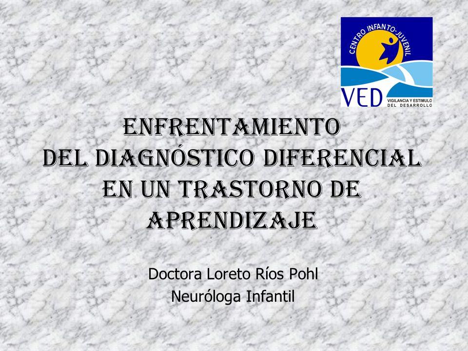 Enfrentamiento del Diagnóstico Diferencial en un Trastorno de Aprendizaje Doctora Loreto Ríos Pohl Neuróloga Infantil