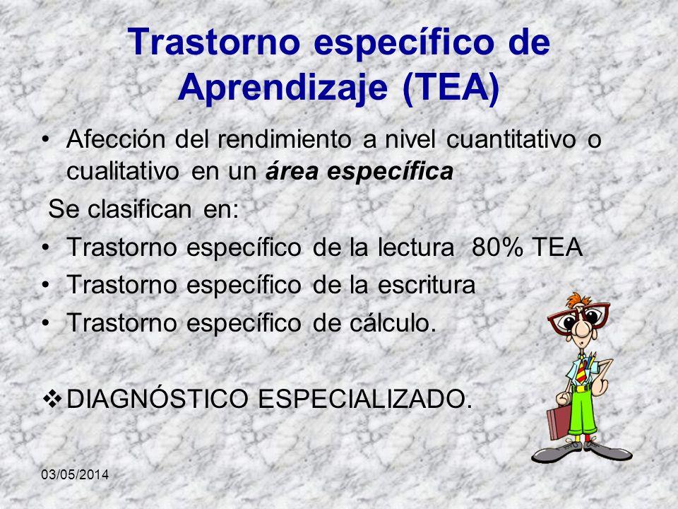 03/05/2014 Trastorno específico de Aprendizaje (TEA) Afección del rendimiento a nivel cuantitativo o cualitativo en un área específica Se clasifican en: Trastorno específico de la lectura 80% TEA Trastorno específico de la escritura Trastorno específico de cálculo.