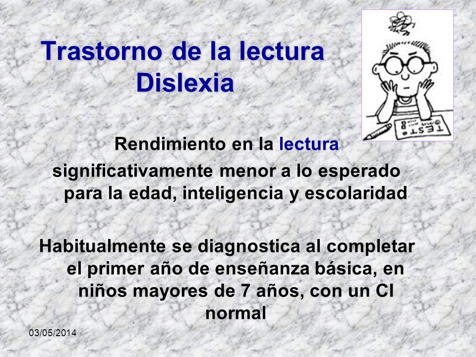 03/05/2014 Trastorno de la lectura Dislexia Rendimiento en la lectura significativamente menor a lo esperado para la edad, inteligencia y escolaridad