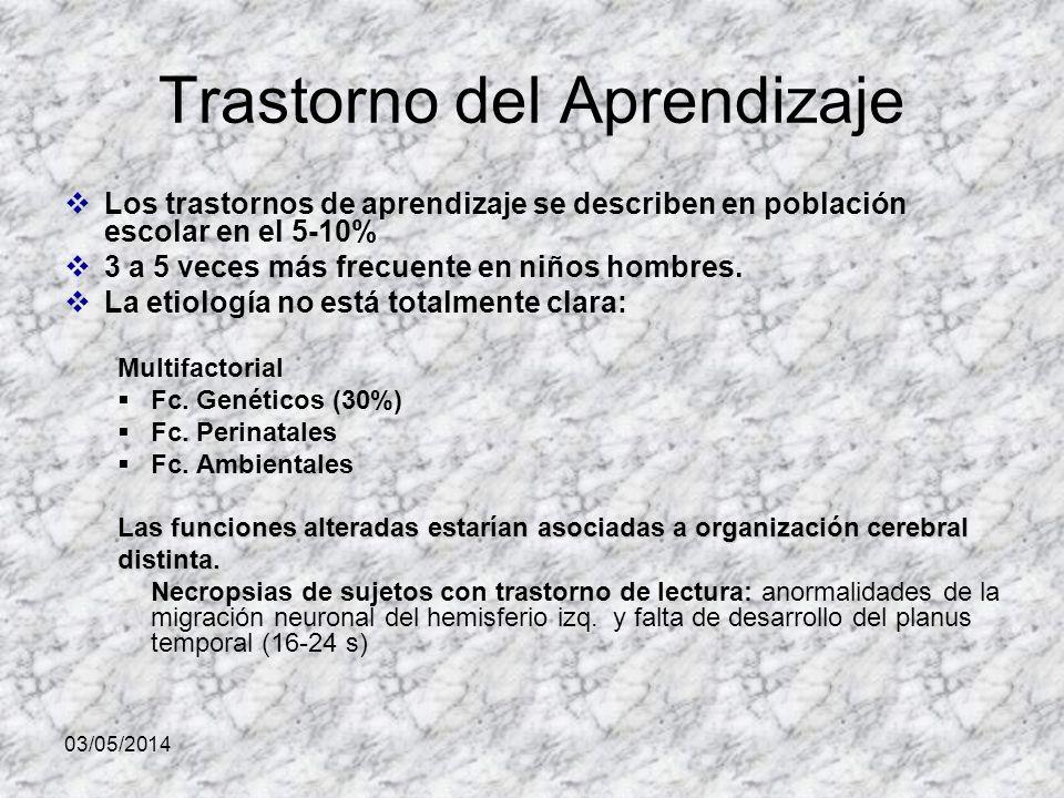 03/05/2014 Trastorno del Aprendizaje Los trastornos de aprendizaje se describen en población escolar en el 5-10% 3 a 5 veces más frecuente en niños hombres.