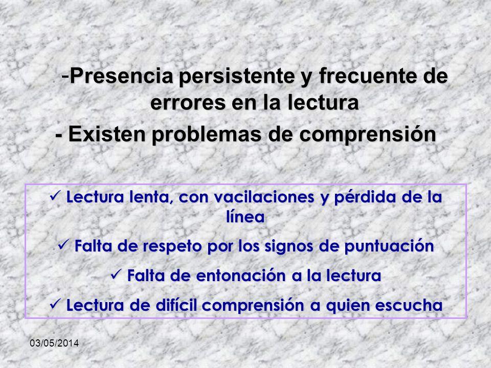 03/05/2014 Presencia persistente y frecuente de errores en la lectura - Presencia persistente y frecuente de errores en la lectura - Existen problemas