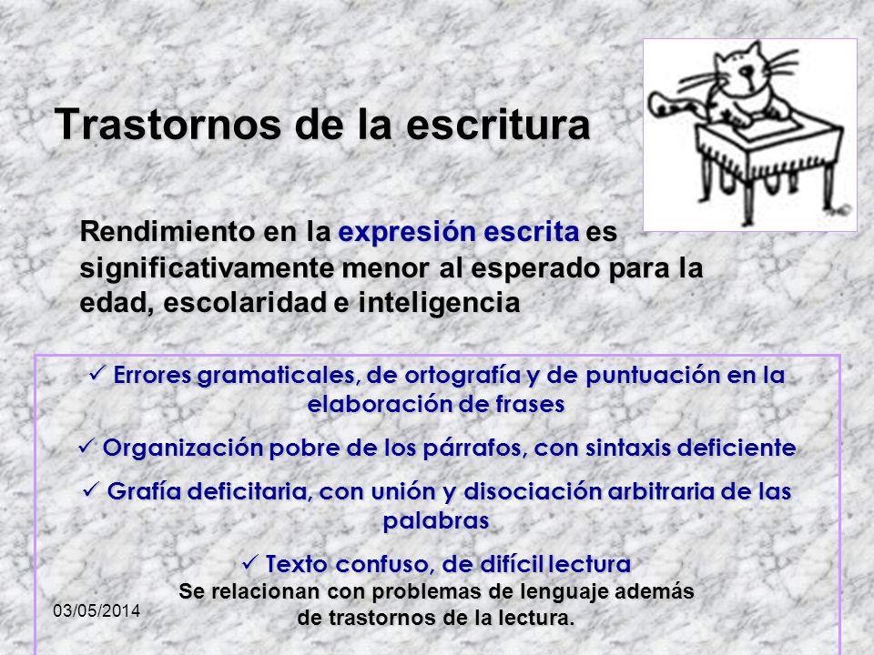 03/05/2014 Trastornos de la escritura Rendimiento en la expresión escrita es significativamente menor al esperado para la edad, escolaridad e intelige