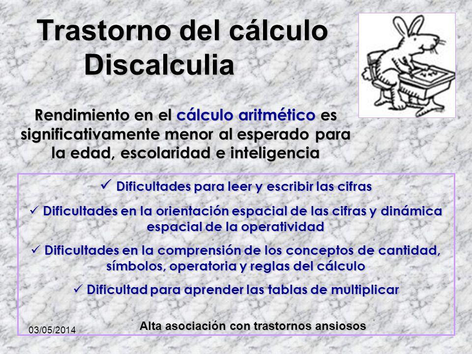 Trastorno del cálculo Discalculia Rendimiento en el cálculo aritmético es significativamente menor al esperado para la edad, escolaridad e inteligenci