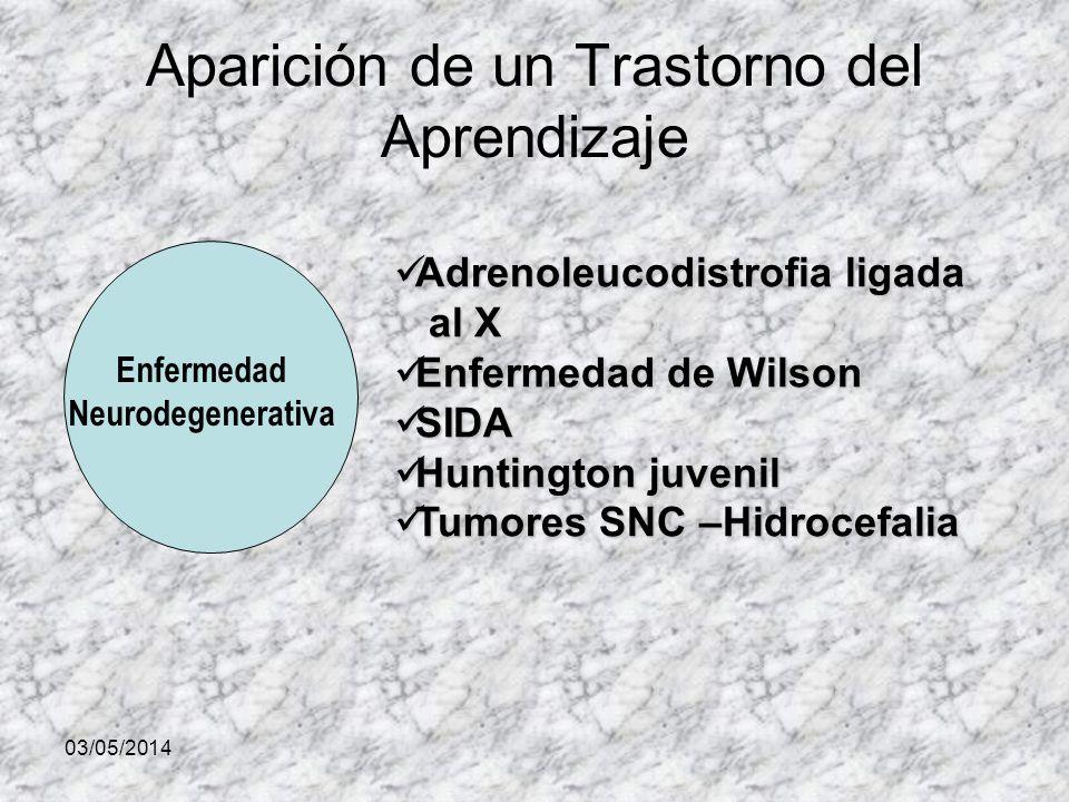 03/05/2014 Aparición de un Trastorno del Aprendizaje Enfermedad Neurodegenerativa Adrenoleucodistrofia ligada Adrenoleucodistrofia ligada al X al X Enfermedad de Wilson Enfermedad de Wilson SIDA SIDA Huntington juvenil Huntington juvenil Tumores SNC –Hidrocefalia Tumores SNC –Hidrocefalia