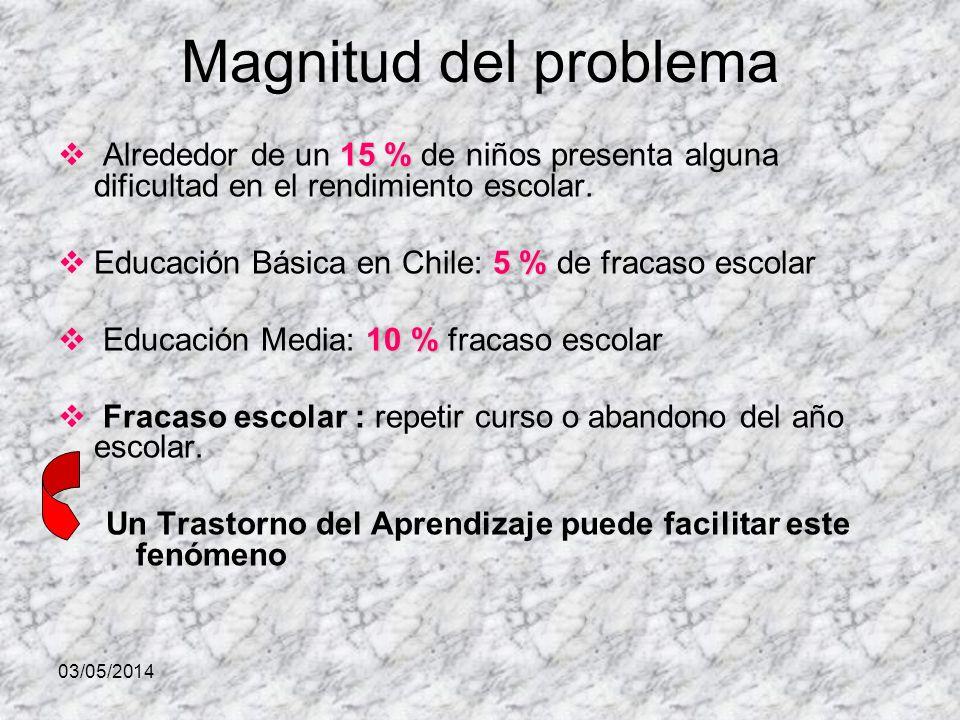 03/05/2014 Magnitud del problema 15 % Alrededor de un 15 % de niños presenta alguna dificultad en el rendimiento escolar. 5 % Educación Básica en Chil