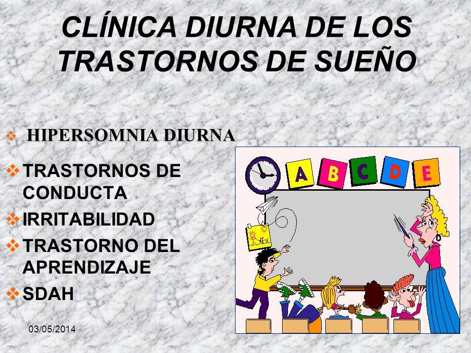 03/05/2014 CLÍNICA DIURNA DE LOS TRASTORNOS DE SUEÑO TRASTORNOS DE CONDUCTA IRRITABILIDAD TRASTORNO DEL APRENDIZAJE SDAH HIPERSOMNIA DIURNA HIPERSOMNIA DIURNA
