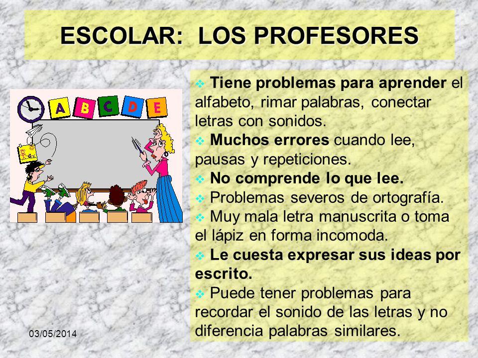 03/05/2014 ESCOLAR: LOS PROFESORES Tiene problemas para aprender el alfabeto, rimar palabras, conectar letras con sonidos. Muchos errores cuando lee,