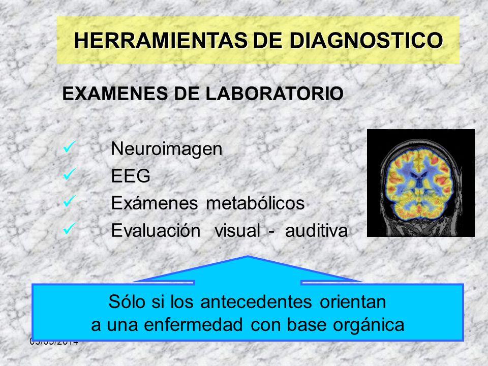 03/05/2014 HERRAMIENTAS DE DIAGNOSTICO EXAMENES DE LABORATORIO Neuroimagen EEG Exámenes metabólicos Evaluación visual - auditiva. Sólo si los antecede