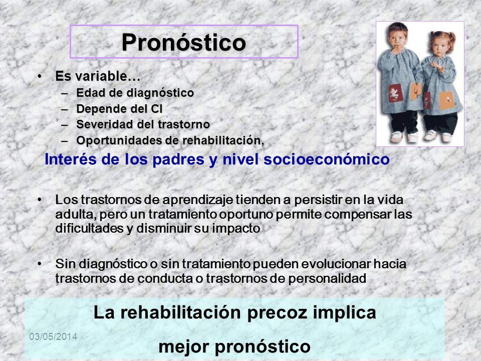 03/05/2014 Pronóstico Es variable…Es variable… –Edad de diagnóstico –Depende del CI –Severidad del trastorno –Oportunidades de rehabilitación, Interés