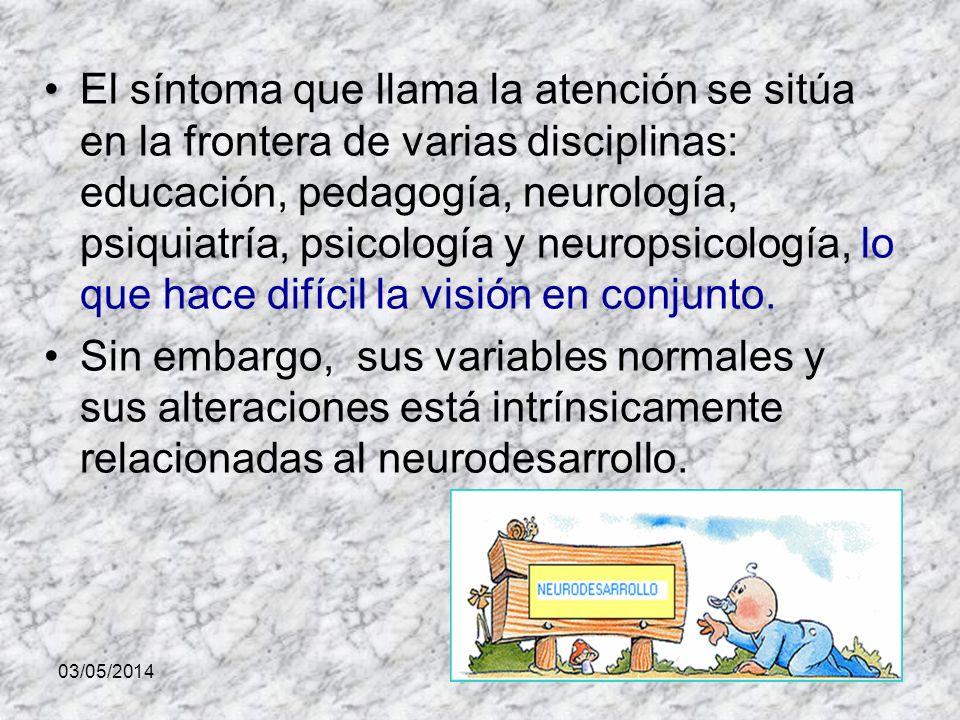 03/05/2014 El síntoma que llama la atención se sitúa en la frontera de varias disciplinas: educación, pedagogía, neurología, psiquiatría, psicología y neuropsicología, lo que hace difícil la visión en conjunto.