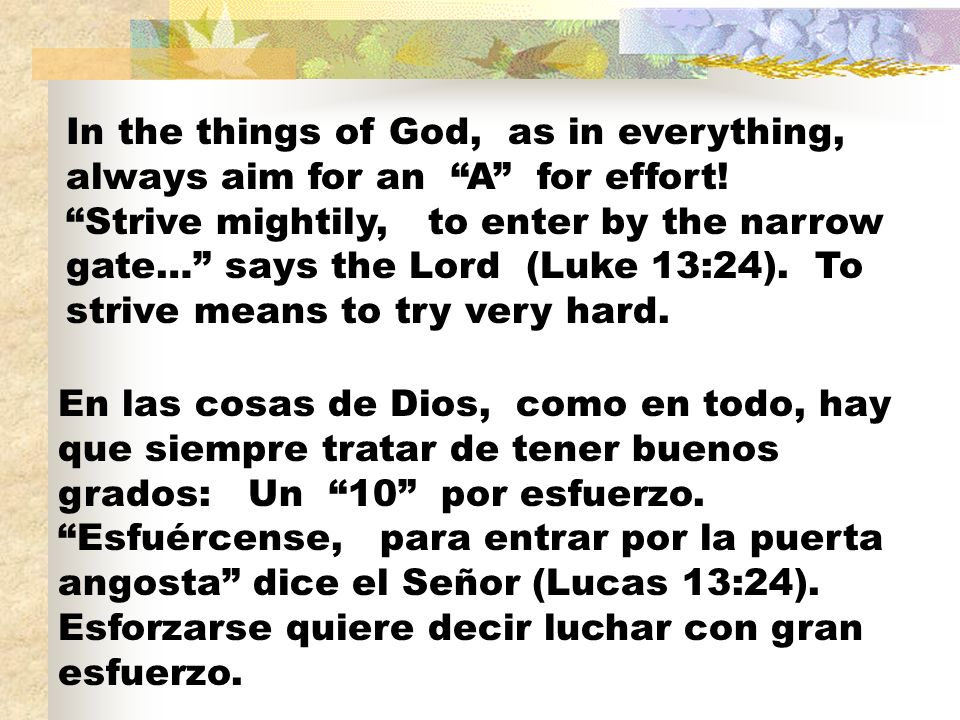 In the things of God, as in everything, always aim for an A for effort! Strive mightily, to enter by the narrow gate… says the Lord (Luke 13:24). To s