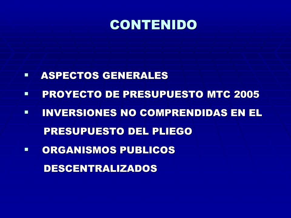 PROYECTO DE PRESUPUESTO 2005 POR FUENTES DE FINANCIAMIENTO