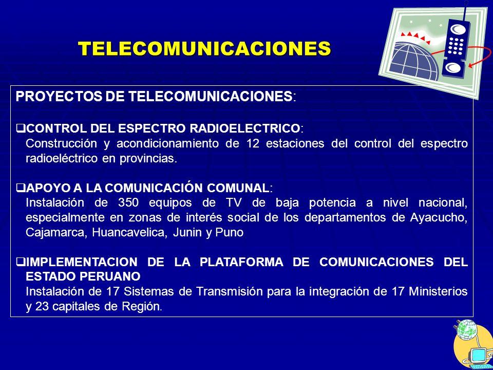 TELECOMUNICACIONES PROYECTOS DE TELECOMUNICACIONES: CONTROL DEL ESPECTRO RADIOELECTRICO: Construcción y acondicionamiento de 12 estaciones del control del espectro radioeléctrico en provincias.