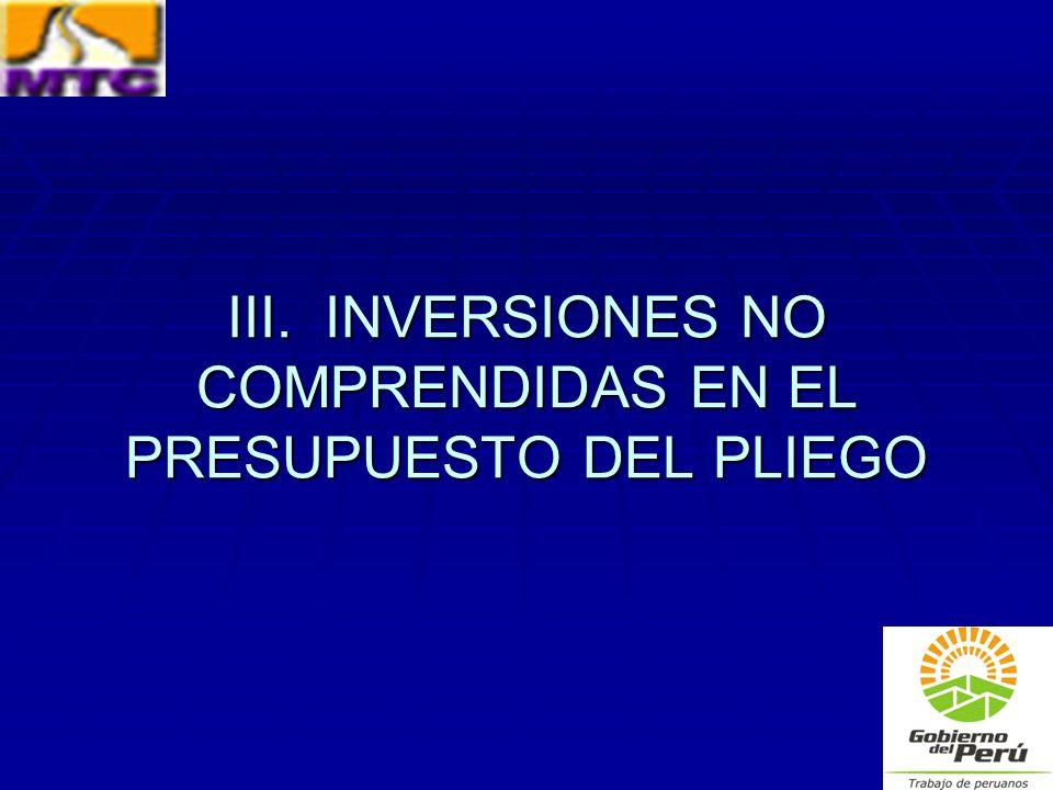 III. INVERSIONES NO COMPRENDIDAS EN EL PRESUPUESTO DEL PLIEGO
