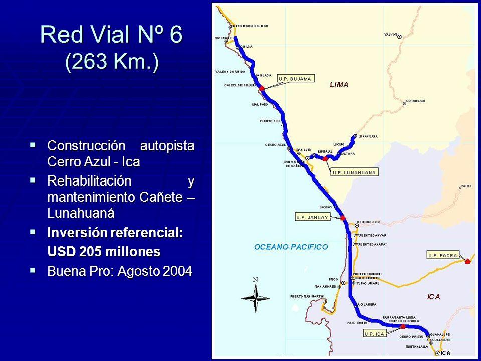 Red Vial Nº 6 (263 Km.) Construcción autopista Cerro Azul - Ica Construcción autopista Cerro Azul - Ica Rehabilitación y mantenimiento Cañete – Lunahuaná Rehabilitación y mantenimiento Cañete – Lunahuaná Inversión referencial: Inversión referencial: USD 205 millones Buena Pro: Agosto 2004 Buena Pro: Agosto 2004