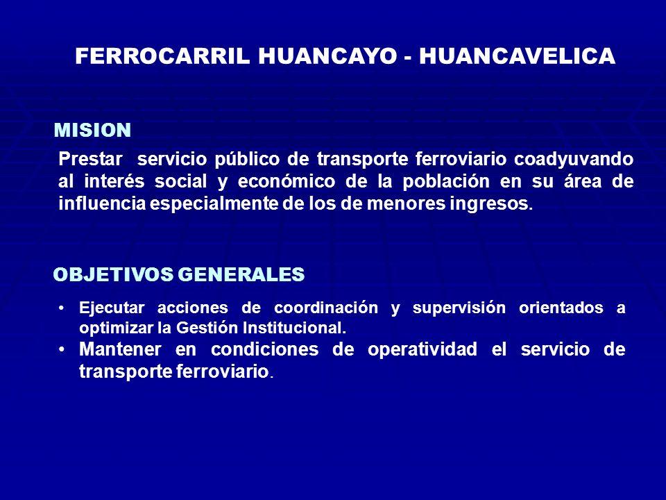 FERROCARRIL HUANCAYO - HUANCAVELICA MISION OBJETIVOS GENERALES Prestar servicio público de transporte ferroviario coadyuvando al interés social y económico de la población en su área de influencia especialmente de los de menores ingresos.