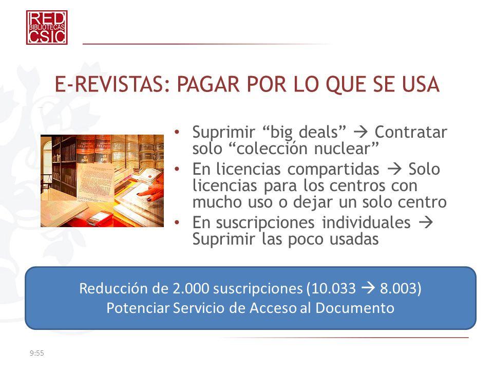 E-REVISTAS: PAGAR POR LO QUE SE USA Suprimir big deals Contratar solo colección nuclear En licencias compartidas Solo licencias para los centros con m