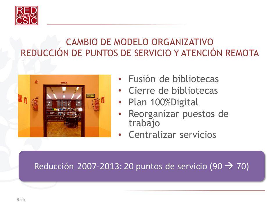 CAMBIO DE MODELO ORGANIZATIVO REDUCCIÓN DE PUNTOS DE SERVICIO Y ATENCIÓN REMOTA Fusión de bibliotecas Cierre de bibliotecas Plan 100%Digital Reorganiz