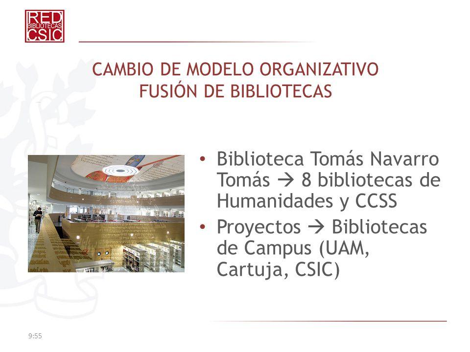 CAMBIO DE MODELO ORGANIZATIVO FUSIÓN DE BIBLIOTECAS Biblioteca Tomás Navarro Tomás 8 bibliotecas de Humanidades y CCSS Proyectos Bibliotecas de Campus