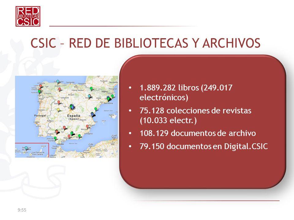 9:57 CSIC – RED DE BIBLIOTECAS Y ARCHIVOS 1.889.282 libros (249.017 electrónicos) 75.128 colecciones de revistas (10.033 electr.) 108.129 documentos de archivo 79.150 documentos en Digital.CSIC 1.889.282 libros (249.017 electrónicos) 75.128 colecciones de revistas (10.033 electr.) 108.129 documentos de archivo 79.150 documentos en Digital.CSIC