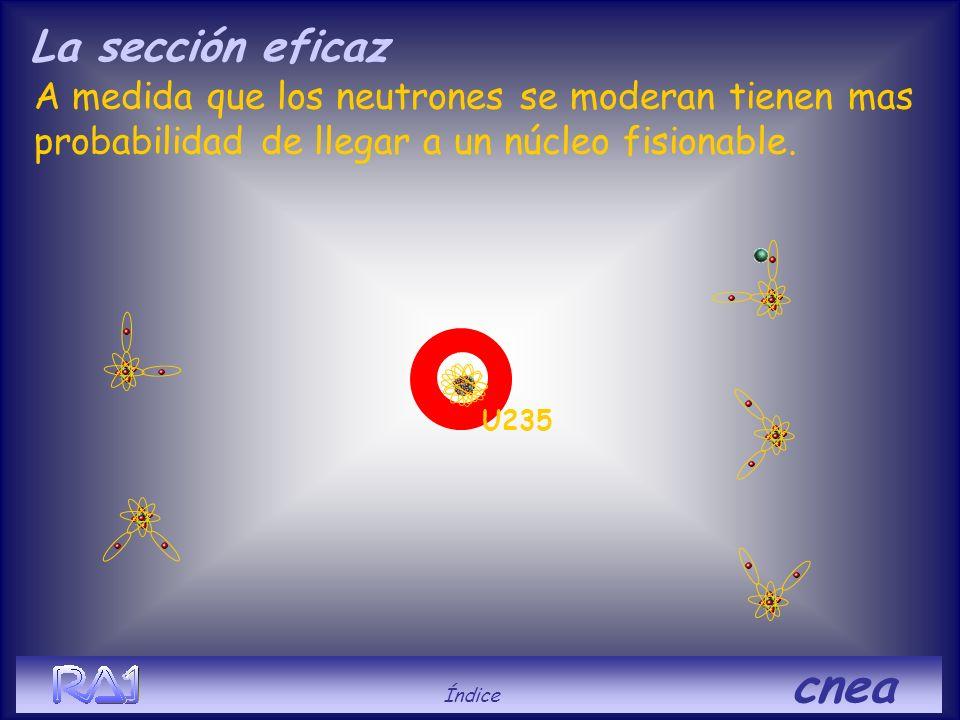 A medida que los neutrones se moderan tienen mas probabilidad de llegar a un núcleo fisionable. U235 La sección eficaz Índice cnea
