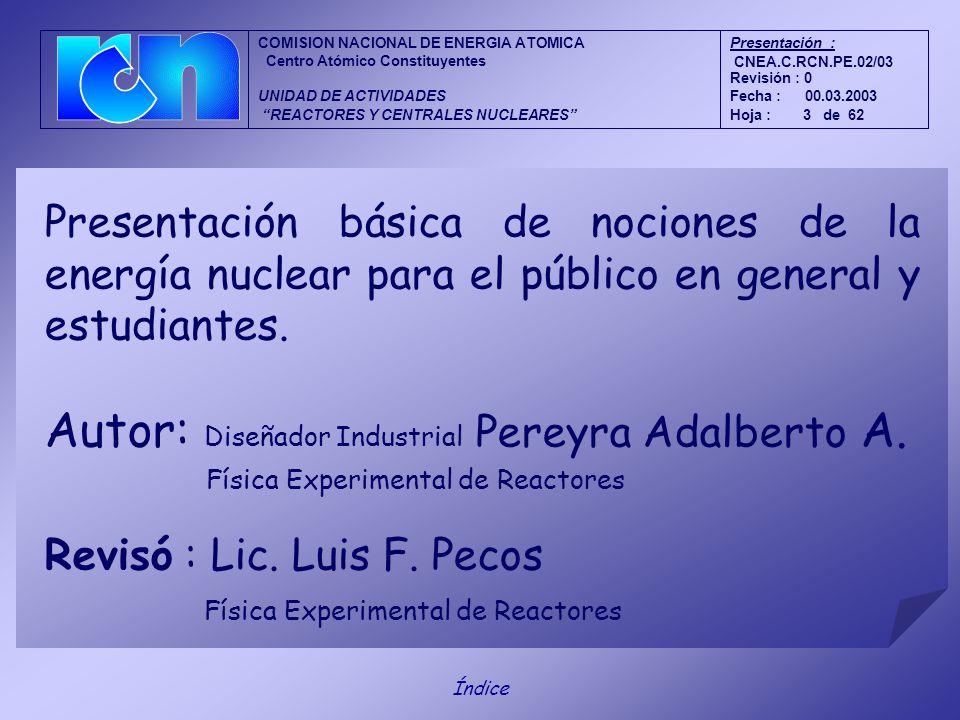 Física Experimental de Reactores Presentación básica de nociones de la energía nuclear para el público en general y estudiantes.