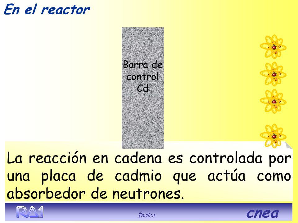 La reacción en cadena es controlada por una placa de cadmio que actúa como absorbedor de neutrones. Barra de control Cd En el reactor Índice cnea
