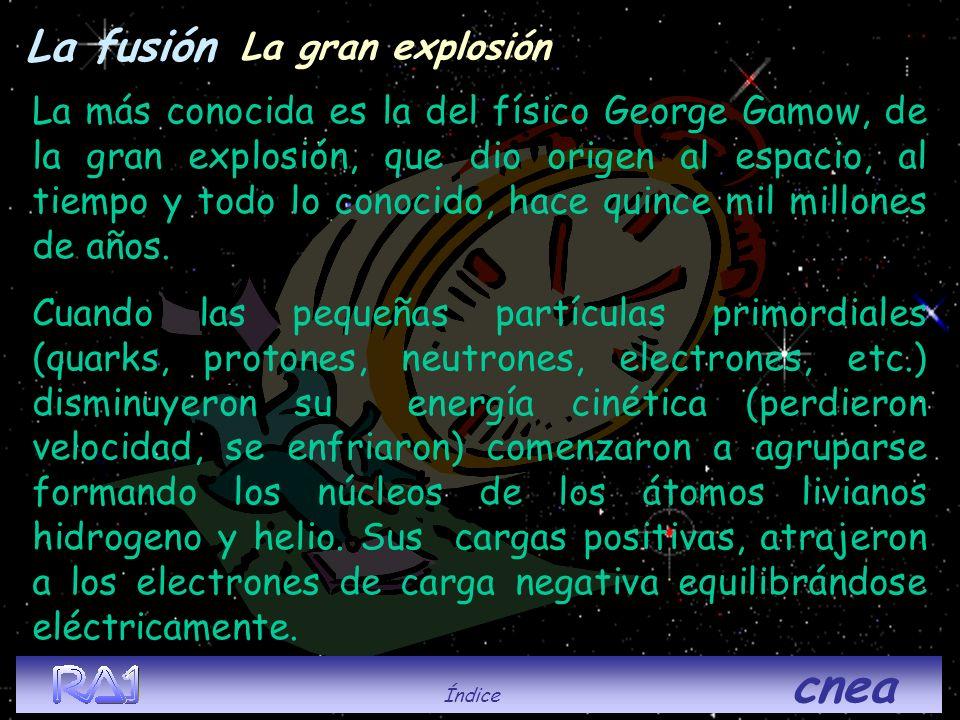 La fusión La más conocida es la del físico George Gamow, de la gran explosión, que dio origen al espacio, al tiempo y todo lo conocido, hace quince mi