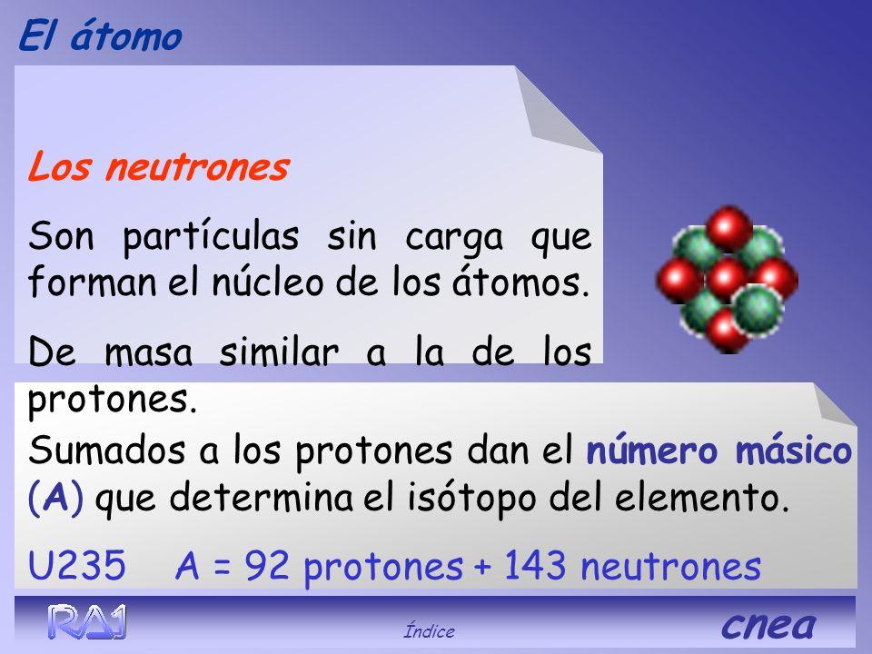 El átomo Índice cnea La cantidad de ellos determina el número atómico (Z), define el nombre del elemento. El hidrógeno tiene Z = 1, el Uranio Z = 92 L