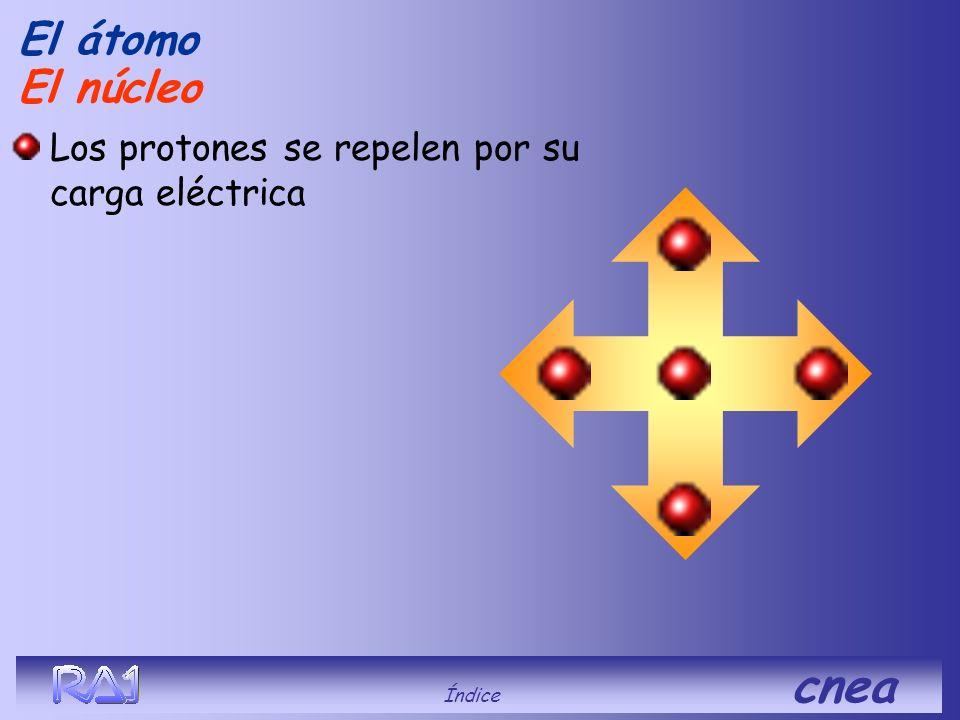 El núcleo El átomo Los protones se repelen por su carga eléctrica Índice cnea