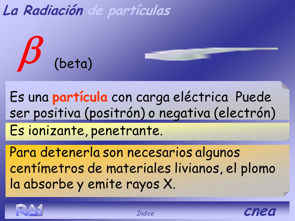 (alfa) Índice cnea Es muy ionizante, poco penetrante. Es un núcleo de helio sin electrones. Esta compuesta por 2 protones y 2 neutrones. Para detenerl