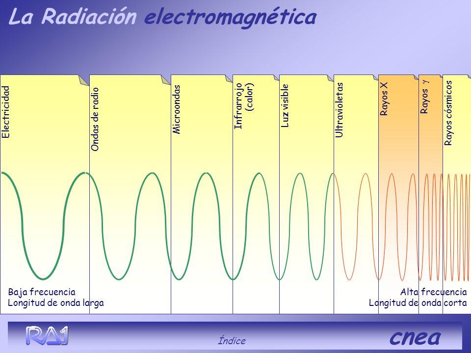 (beta) Índice cnea Es ionizante, penetrante. Es una partícula con carga eléctrica Puede ser positiva (positrón) o negativa (electrón) Para detenerla s