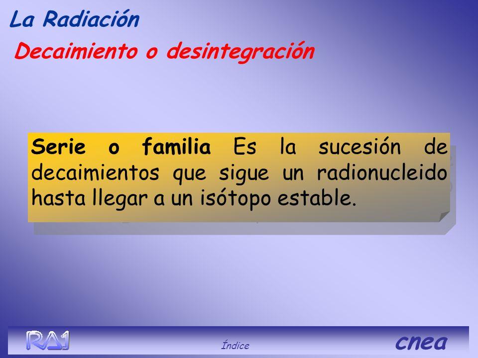 Decaimiento o desintegración La Radiación Índice cnea Se estima que transcurridos 5 períodos ( t 1/2 ) el radioisótopo prácticamente decayó en su tota