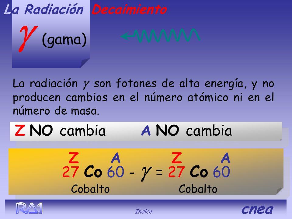 Z disminuye 1 cambia el elemento A NO cambia (beta) Decaimiento Un protón se divide en una partícula y un neutrón. La Radiación 1 protón 1 neutrón 1 8
