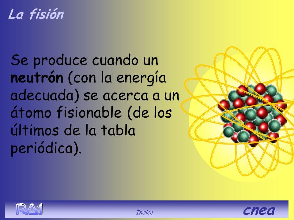 La fisión Se produce cuando un neutrón (con la energía adecuada) se acerca a un átomo fisionable de los últimos de la tabla periódica. Índice cnea