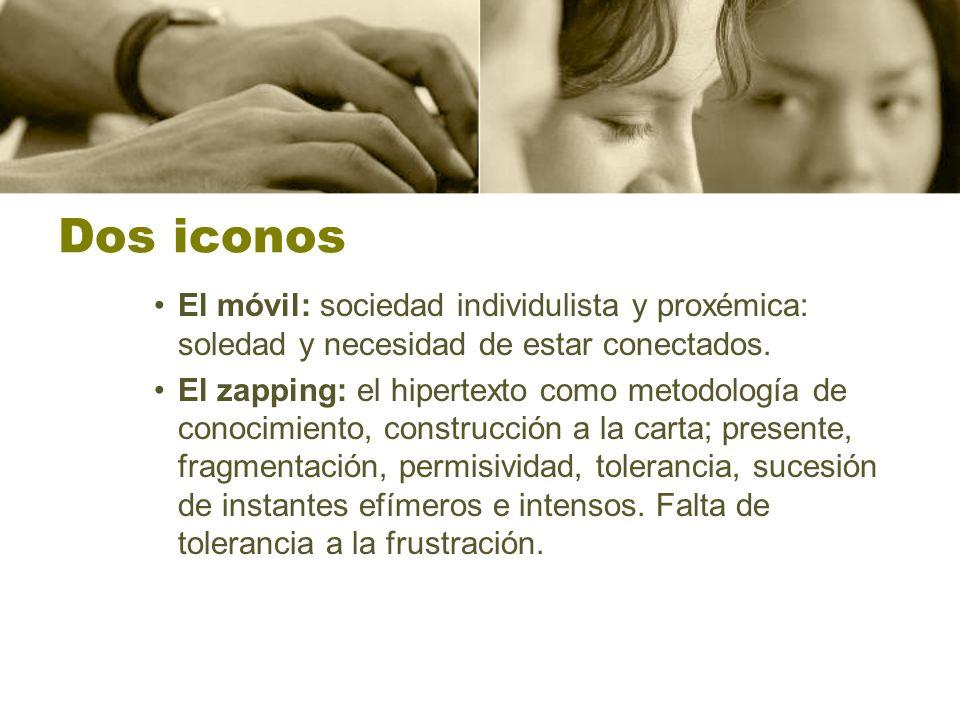 Dos iconos El móvil: sociedad individulista y proxémica: soledad y necesidad de estar conectados.