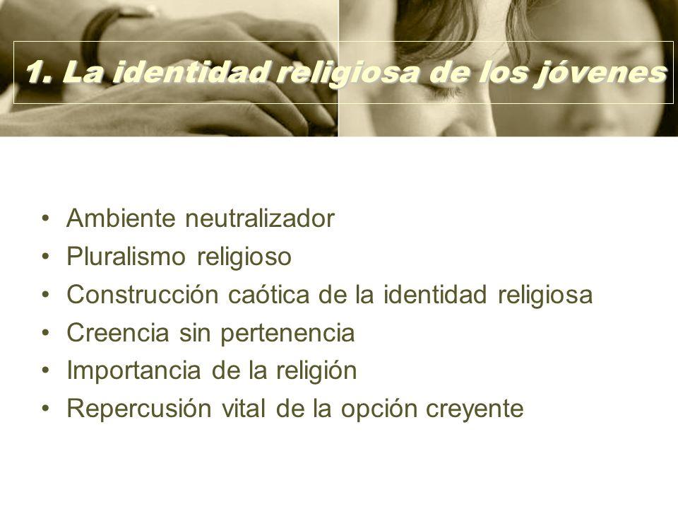 1. La identidad religiosa de los jóvenes Ambiente neutralizador Pluralismo religioso Construcción caótica de la identidad religiosa Creencia sin perte