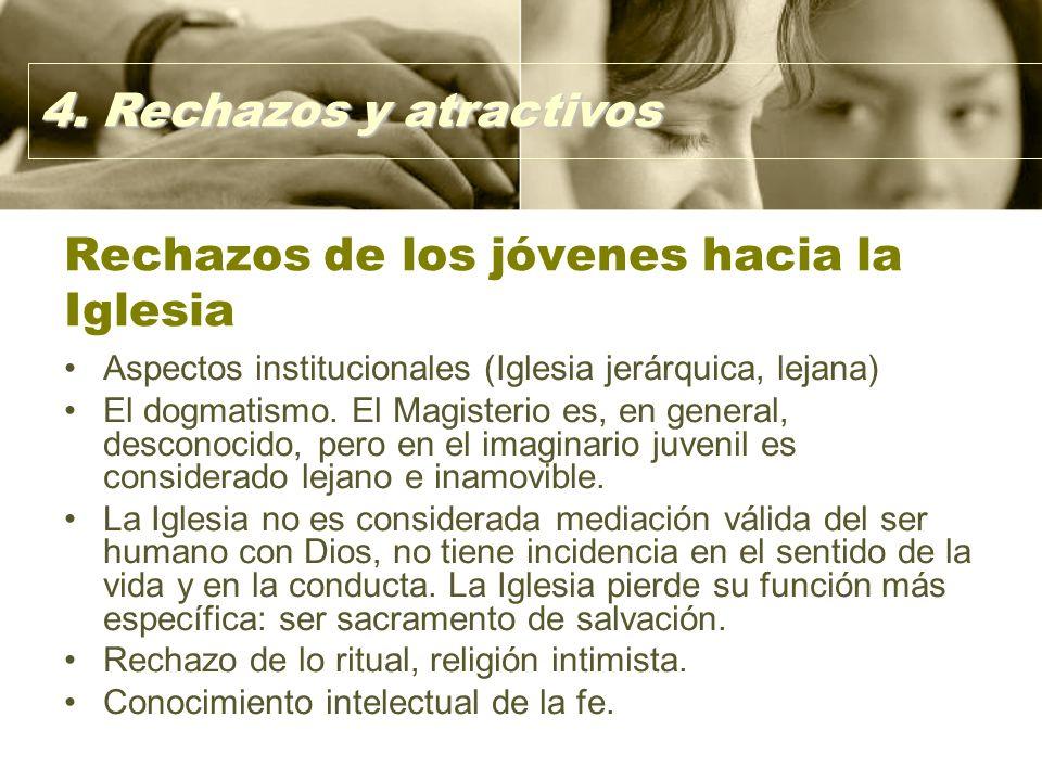 Rechazos de los jóvenes hacia la Iglesia Aspectos institucionales (Iglesia jerárquica, lejana) El dogmatismo.