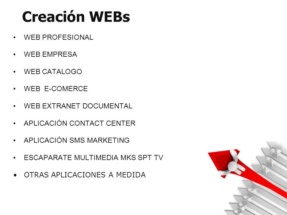 Creación WEBs WEB PROFESIONAL WEB EMPRESA WEB CATALOGO WEB E-COMERCE WEB EXTRANET DOCUMENTAL APLICACIÓN CONTACT CENTER APLICACIÓN SMS MARKETING ESCAPARATE MULTIMEDIA MKS SPT TV OTRAS APLICACIONES A MEDIDA