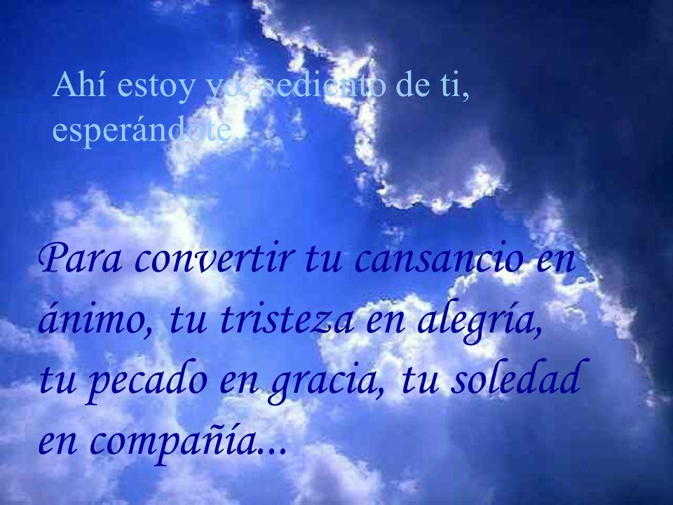 Para convertir tu cansancio en ánimo, tu tristeza en alegría, tu pecado en gracia, tu soledad en compañía...