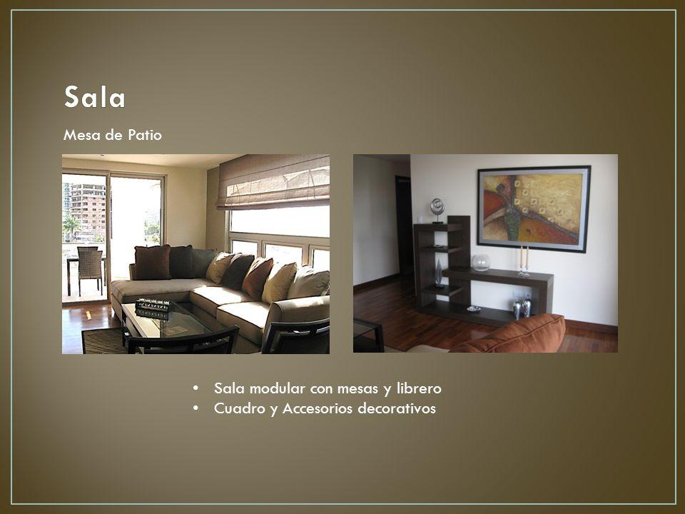 Sala modular con mesas y librero Cuadro y Accesorios decorativos Mesa de Patio