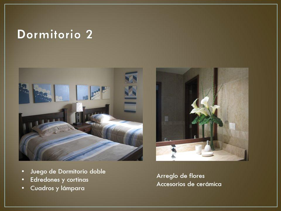 Juego de Dormitorio doble Edredones y cortinas Cuadros y lámpara Arreglo de flores Accesorios de cerámica