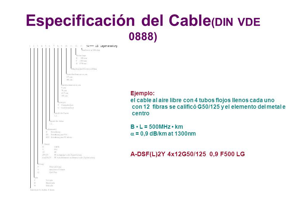 Ejemplo: el cable al aire libre con 4 tubos flojos llenos cada uno con 12 fibras se calificó G50/125 y el elemento del metal en el centro B L = 500MHz km = 0,9 dB/km at 1300nm A-DSF(L)2Y 4x12G50/125 0,9 F500 LG 14.LG Lagenverseilung Especificación del Cable (DIN VDE 0888)