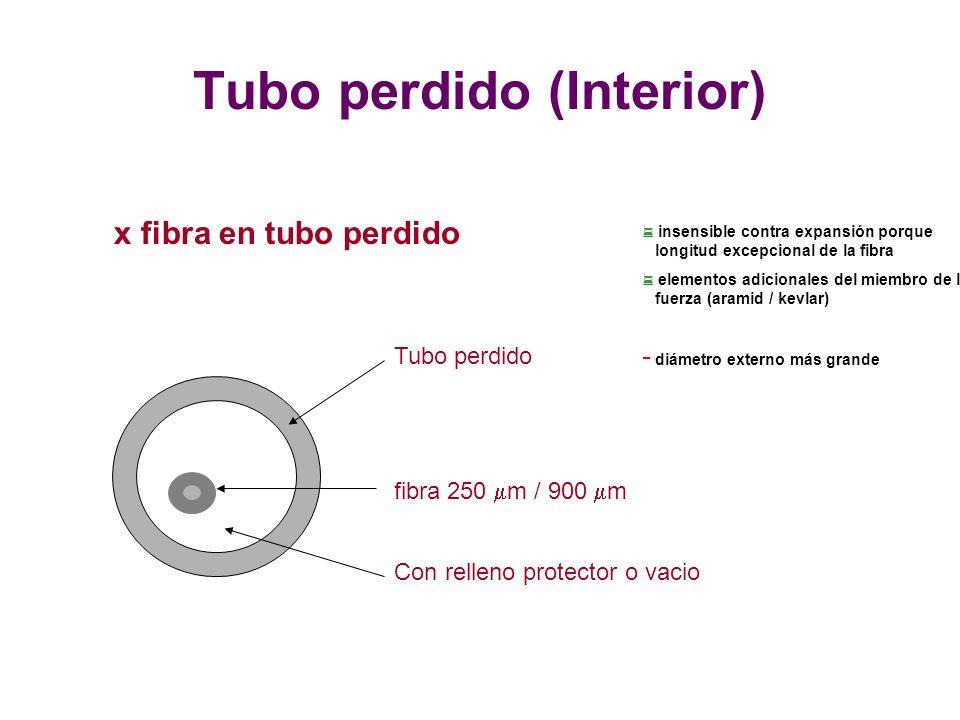 fibra 250 m / 900 m Tubo perdido Con relleno protector o vacio x fibra en tubo perdido : insensible contra expansión porque longitud excepcional de la fibra : elementos adicionales del miembro de la fuerza (aramid / kevlar) - diámetro externo más grande Tubo perdido (Interior)