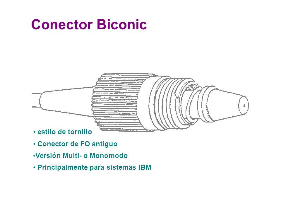 Conector Biconic estilo de tornillo Conector de FO antiguo Versión Multi- o Monomodo Principalmente para sistemas IBM