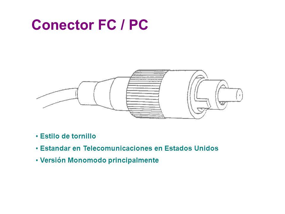Conector FC / PC Estilo de tornillo Estandar en Telecomunicaciones en Estados Unidos Versión Monomodo principalmente