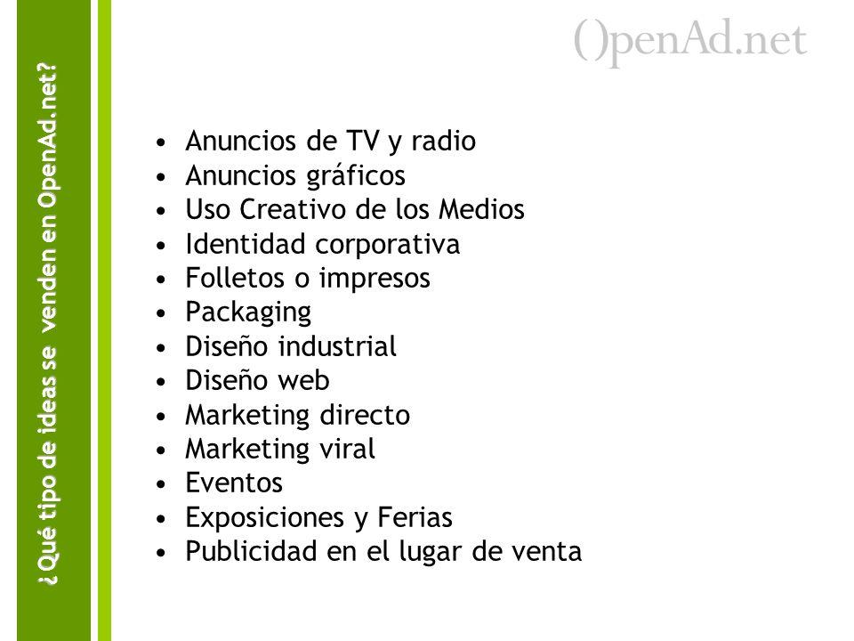 Anuncios de TV y radio Anuncios gráficos Uso Creativo de los Medios Identidad corporativa Folletos o impresos Packaging Diseño industrial Diseño web M