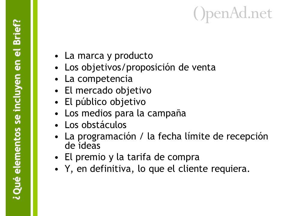 La marca y producto Los objetivos/proposición de venta La competencia El mercado objetivo El público objetivo Los medios para la campaña Los obstáculo